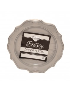 Assiette plastique premium x12 grand modèle grise Decor